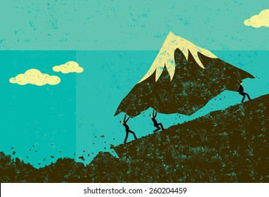 Moving Mountains Businessmen moving a mountain uphill. The men & mountain and background are on separate labeled layers.