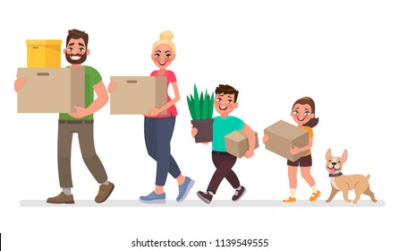 Moving to a new house. Father, mother, son and daughter are carrying things. Vector illustration in cartoon style
