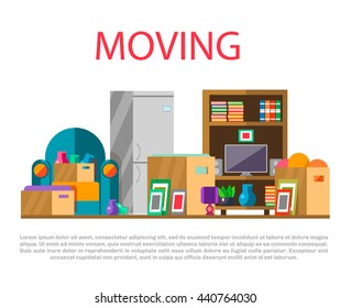 Moving to new house with home furniture, things and boxes, vector illustration. Concept of  relocation, cargo and moving business.Colorful home items and transportation packages ready for moving, flat