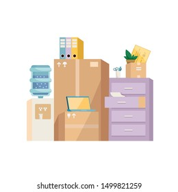 Moving office concept illustration. Pile of cardboard boxes, furniture, papers, watercooler, laptops and other objects found in an office. Modern style flat vector illustration isolated on white.