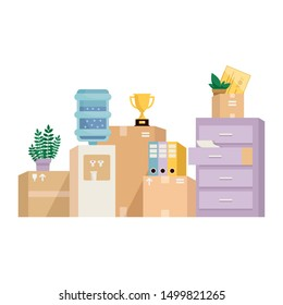 Moving office concept illustration. Pile of cardboard boxes, furniture, papers, watercooler, plants and other objects found in an office. Modern style flat vector illustration isolated on white.