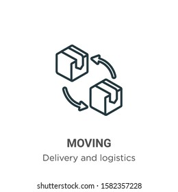 Moving outline vector icon. Thin line black moving icon, flat vector simple element illustration from editable delivery and logistics concept isolated on white background