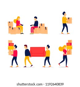 Moving people wear things. Vector illustration