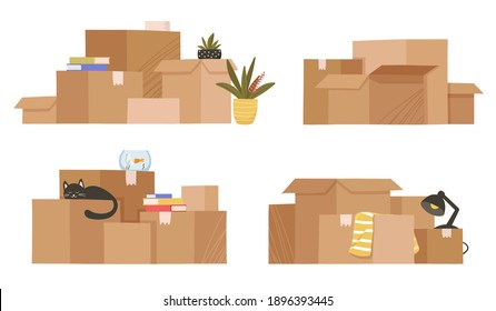 Moving and relocation concept. Set of four stacks isolated on white background. Cardboard boxes with various things from house Flat cartoon vector illustrations