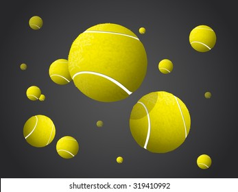 Moving Tennis Balls flying, falling isolated on dark background.