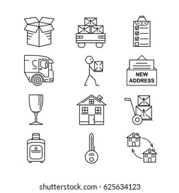 Moving. Thin line art icons. Flat style illustrations isolated.
