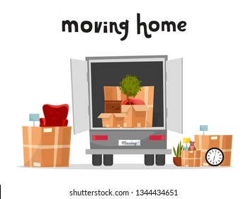 Moving Truck with Boxes. Back side of the loading truck. Cardboard boxes inside and outside the vehicle.Packed interior furniture and cat. lettering moving home qoute.Vector cartoon style illustration