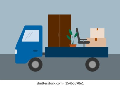 Moving. Truck with furniture and cardboard boxes. Relocate to new home or office. Truck for transportation of goods. Vector illustration.