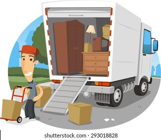 moving truck vector cartoon illustration