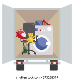 Moving van with with objects to deliver in flat style.