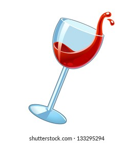 Moving wineglass with red wine. Vector illustration.