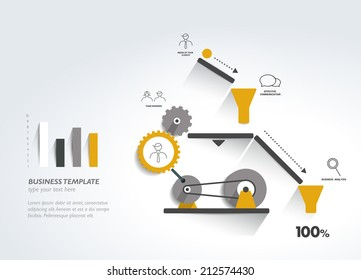 Moving working mechanism. Infographics diagram. Vector illustration.