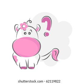Moxy Patty the cow confused, vector.
