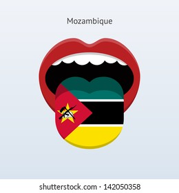 Mozambique language. Abstract human mouth. Vector illustration.