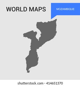Mozambique Map vector. country border map.