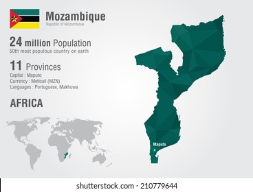 Mozambique world map with a pixel diamond texture. World Geography.