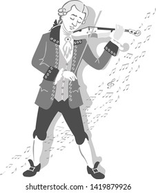 Mozart plays a melody on the violin