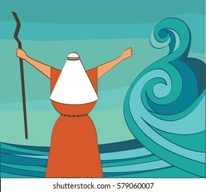 Mozes splitting the red sea and ordering let my people go out of Egypt. vector illustration