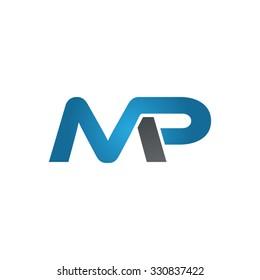 MP company linked letter logo blue