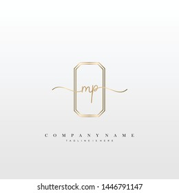 MP initial handwriting logo template vector