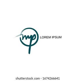 MP Initial handwriting logo vector