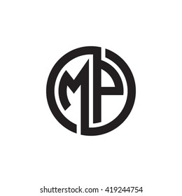 MP initial letters looping linked circle monogram logo