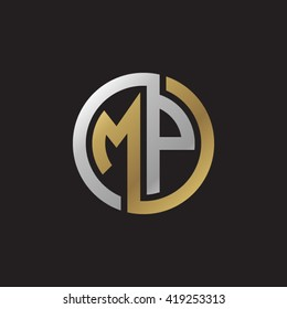 MP initial letters looping linked circle elegant logo golden silver black background