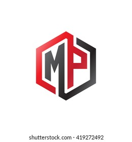 MP initial letters looping linked hexagon logo black red