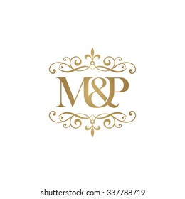 M&P Initial logo. Ornament ampersand monogram golden logo