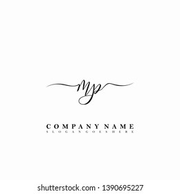 MP Initial luxury handwriting logo vector