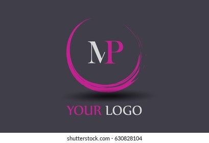 MP Letter Logo Circular Purple Splash Brush Concept.