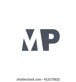 MP Logo. Vector Graphic Branding Letter Element. White Background