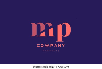 mp m p alphabet small letter blue pink creative design vector company logo icon template