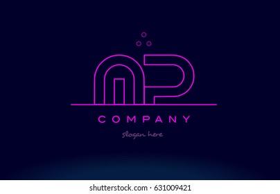 mp m p letter alphabet text pink purple dots contour line creative company logo vector icon design template