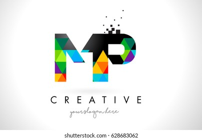 MP M P Letter Logo with Colorful Vivid Triangles Texture Design Vector Illustration.