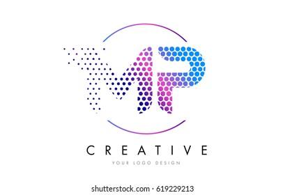 MP M P Pink Magenta Dotted Bubble Letter Logo Design. Dots Lettering Vector Illustration
