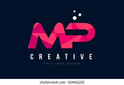 MP M P Purple Letter Logo Design with Low Poly Pink Triangles Concept