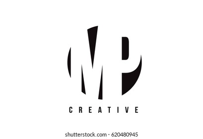 MP M P White Letter Logo Design with Circle Background Vector Illustration Template.