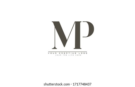 MP PM abstract vector logo monogram template