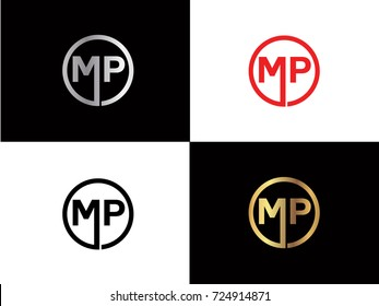 MP text gold black silver modern creative alphabet letter logo design vector icon