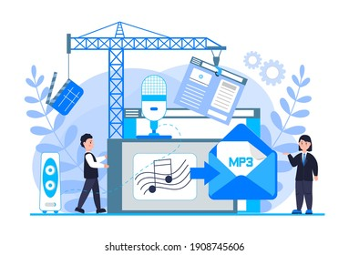 MP3 converter concept with tiny people. Screen with changing or converting process of document to another format. Audio compression. Flat vector illustration for app, website, banner, landing