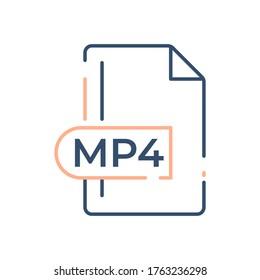 MP4 File Format Icon. MP4 extension line icon.