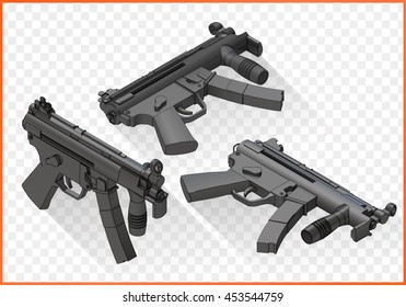 mp5 submachine gun isometric flat vector 3d illustration isolated on white background
