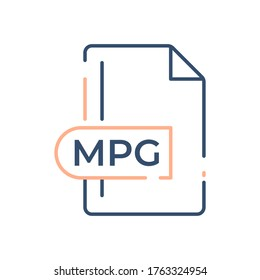 MPG File Format Icon. MPG extension line icon.