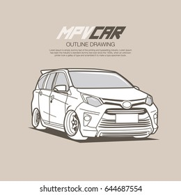 MPV Car clean outline drawing vector illustration