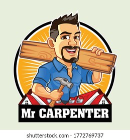 Mr Carpenter carrying Hammer and Board for House Repair Business Logo