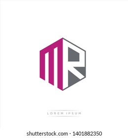 MR Logo Initial Monogram Negative Space Design Template With Dark purple and Grey color