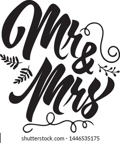 Mr and Mrs Decorative Typography Hand Lettering
