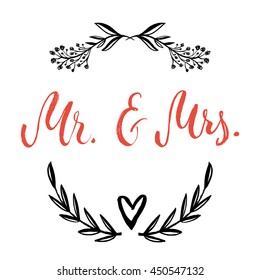 Mr And Mrs In Floral Wreath Vector Isolated Hand Drawn Lettering With Abstract Background