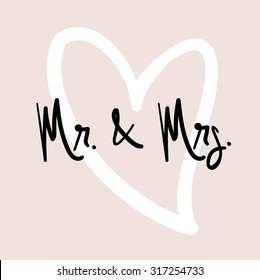 Mr & Mrs. Hand Written Vector Text. Calligraphy. Black Brush on Pink Background.